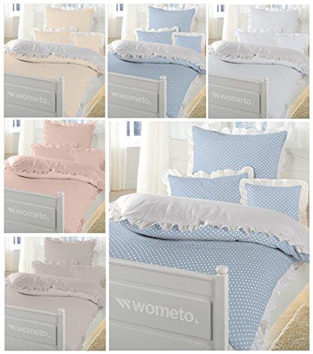 WOMETO Bettwäsche Rüschen 100% Baumwolle 135x200 cm weiß grau-beige (Taupe) Vintage Landhaus OekoTex Reißverschluss