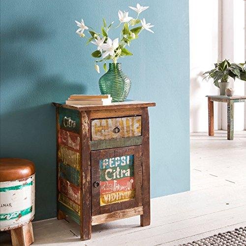 Wohnling Nachtkonsole SURAT 35x40x60 cm Nachttisch Mango Massivholz Beistelltisch | Design Nachtkommode Shabby Chic | Nachttisch mit Schublade | Beistellschrank mit Stauraum | Nachttischchen Vintage