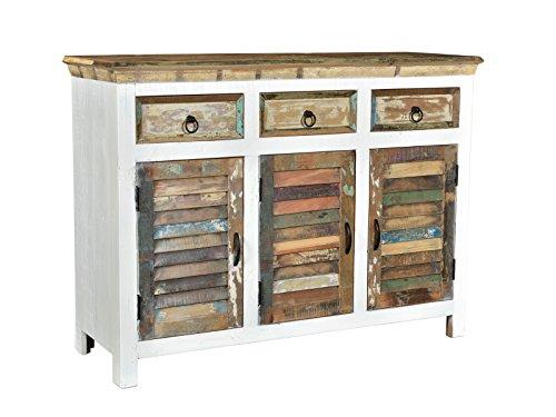 Woodkings Sideboard Perth weiß, 3türig, recyceltes Massivholz antik, Anrichte Vintage, Design Kommode 3 Schubladen, Holzmöbel