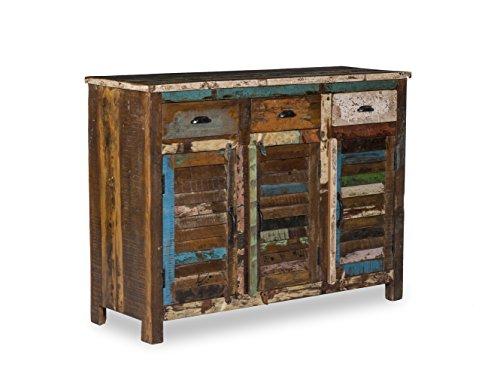 Woodkings Sideboard Wakefield 3tür, recyceltes Massivholz Antik, Anrichte Vintage, Design Kommode 3 Schub, Exclusiv, günstig,120 cm