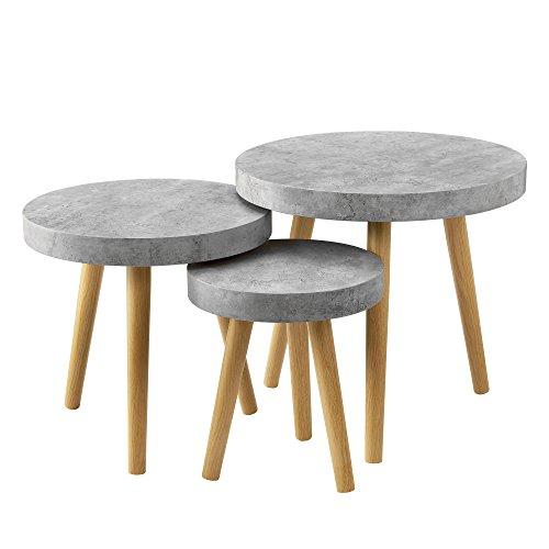 [en.casa] 3er Set Design Beistelltische Rund in Beton-Optik/Couchtisch / Wohnzimmer