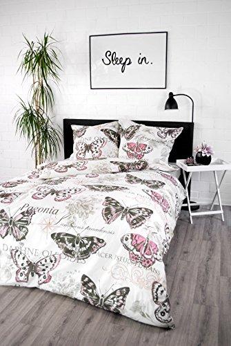 jilda-tex Bettwäsche 100% Baumwolle Design Vintage Butterfly Rose 135x200 cm mit Reißverschluss Bettbezug