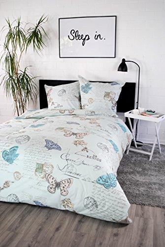 jilda-tex Bettwäsche 100% Baumwolle Design Vintage Butterfly blue 135x200 cm mit Reißverschluss Bettbezug