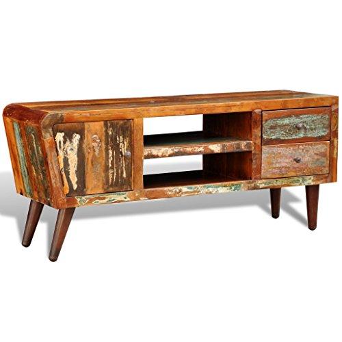 vidaXL Teak Antik TV Hifi Rack Lowboard Sideboard Fernsehtisch Vintage Holz 2