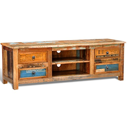vidaXL Teak Antik TV Hifi Rack Lowboard Sideboard Fernsehtisch Vintage Holz 4