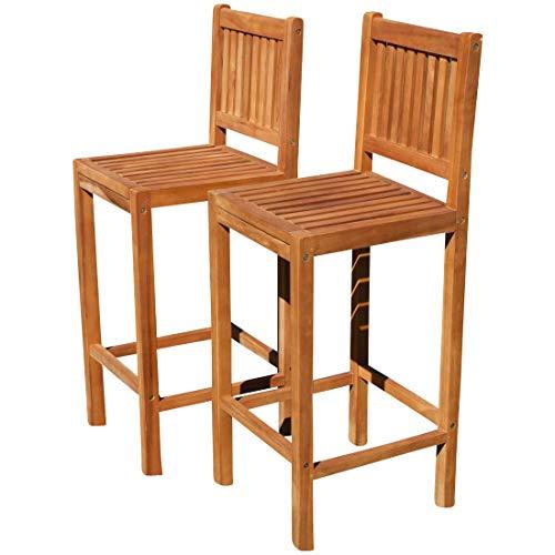 ASS 2Stück Teak Design Barhocker Barsessel Bistrohocker Bistrosessel Sessel Holzsessel Gartensessel Gartenmöbel Holz Modell: JAV-BIMA von