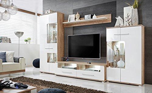 Anbauwand Wohnzimmer Schrankwand Möbelset Wohnwand, TV-Lowboard, Esszimmer, Schrankwand Salvador, Wohnzimmer, Weiß Eiche, Maße: 320 x 194 x 47 cm Wohnzimmerschrank, modern, Wandschrank Möbel für Home
