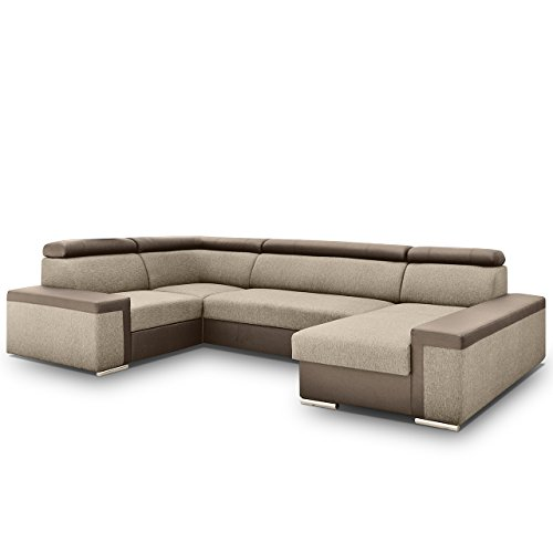 Big Ecksofa Dimaro mit Verstellbare Kopfstützen, Polsterecke mit Bettkasten und Schlaffunktion, Bettsofa, Funktionssofa U-Form, Design Eckcouch mit Bettfunktion (Ecksofa Rechts, Soft 030 + Muna 03)