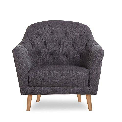 CLP Polstersessel Lovis mit Armlehnen und Stoffbezug I Belastbarer Loungesessel mit Holzbeinen I In Verschiedenen Farben erhältlich