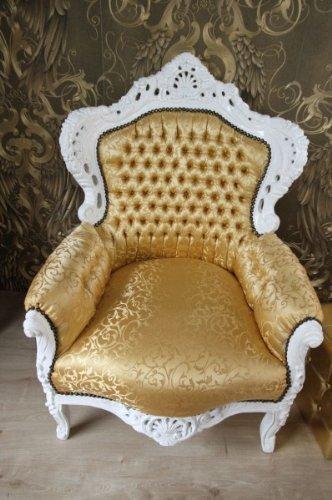 Casa Padrino Barock Sessel King Gold Muster/Weiß 85 x 85 x H. 120 cm - Antik Stil Möbel