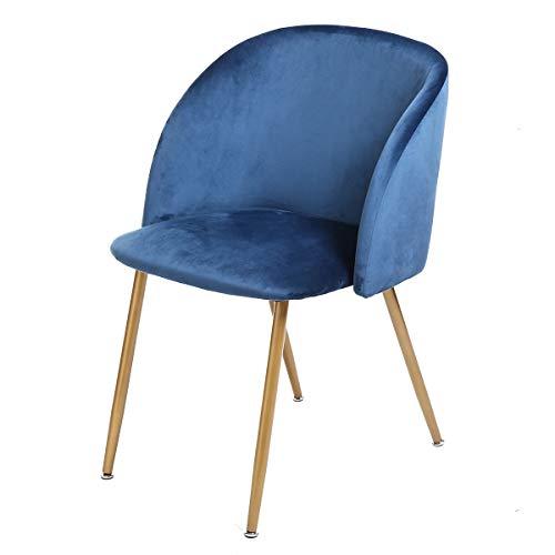 DORAFAIR 1er Set Vintager Retro Stuhl Sessel Polstersessel Lounge Stuhl,Esszimmerstuhl Samt weich Kissen Sitz und Rücken mit Metall Gold Beine, Grün