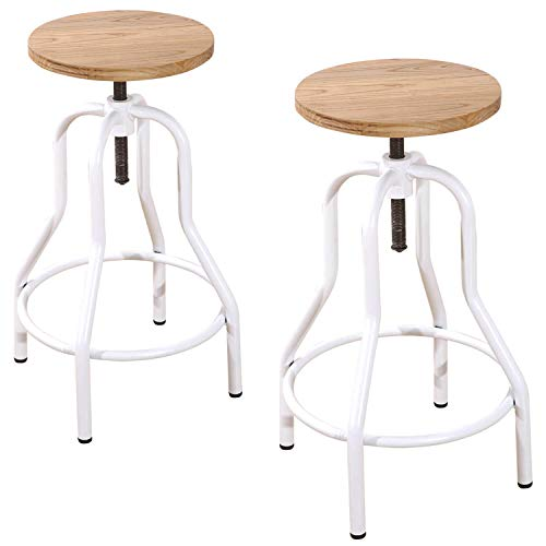 Damiware Tango Barstuhl barhocker 2er Set Industrial Look, Materialmix Holz + Metall, Sitzhöhe stufenlos verstellbar Weiß (Weiß)