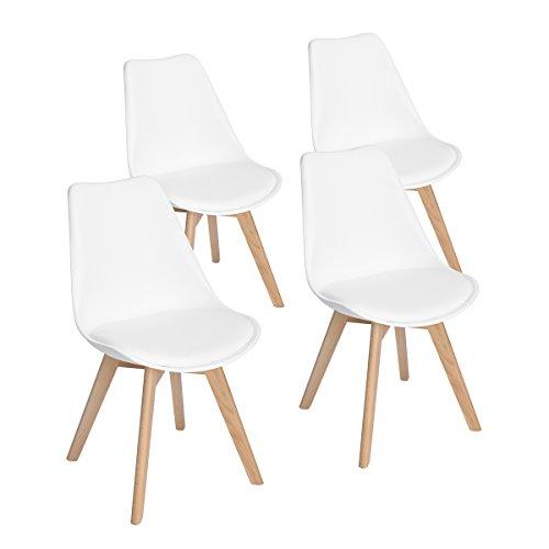EGGREE 4er Set Esszimmerstühle mit Massivholz Buche Bein, Retro Design Gepolsterter Stuhl Küchenstuhl Holz, Weiß