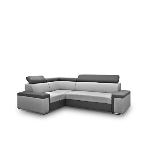 Eckcouch Fondo mit Verstellbare Kopfstützen, Polsterecke mit Bettkasten und Schlaffunktion, Design Ecksofa mit Bettfunktion, Bettsofa, Funktionssofa L-Form (Ecksofa Links, Soft 020 + Muna 08)