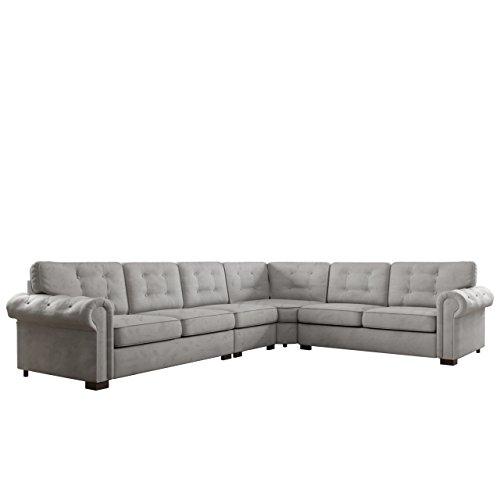 Ecksofa Chesterfield Midi, 6-Sitzer freistehendes Polsterecke Sofa, Antik Look Couchgarnitur, Farbauswahl, Wohnlandschaft Couch (Tunis 2332)