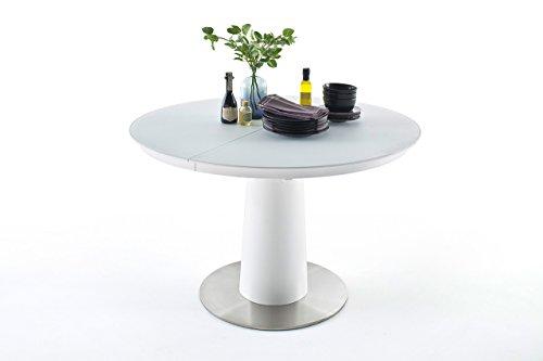 Esstisch, Küchentisch, Esszimmertisch, Säulentisch, rund, oval, ausziehbar, Synchronauszug, weiß, reinweiß, Sicherheitsglas, Glas