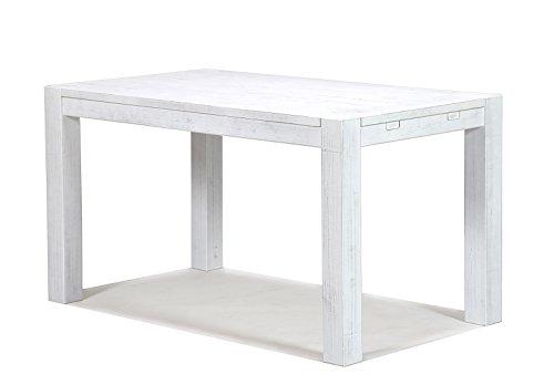 Esstisch Rio Bonito 120x80cm, Pinie Shabby White, Massivholztisch Weiss, Vintage Used- Look für Esszimmer Wohnzimmer Büro oder Küche