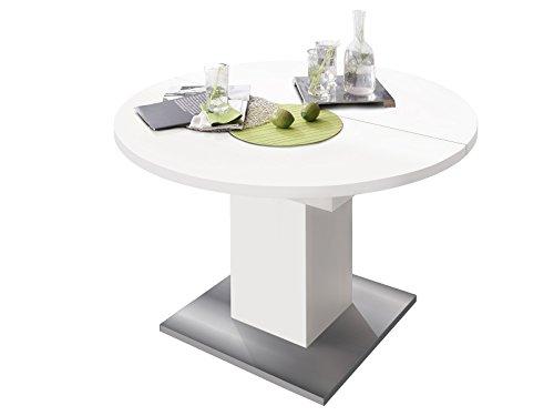 """Esszimmertisch Tisch Esstisch Küchentisch Speisentisch Holztisch """"Judd II"""" weiß matt/Edelstahloptik"""