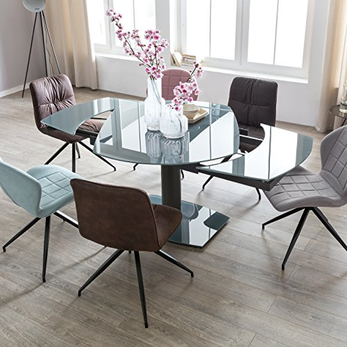 FineBuy Esszimmertisch NOAH 120-180 cm ausziehbar dunkelgrau Metall/Glas | Tisch für Esszimmer rechteckig | Küchentisch 4-8 Personen | Design Esstisch
