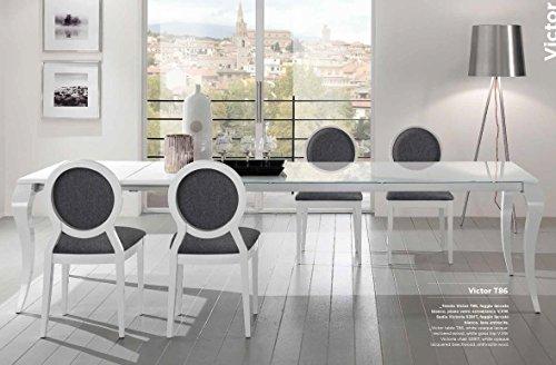 FriulStühle ausziehbar T86 Victor 180 x 90 Top Beine Esche Piano Glas Kratzschutz