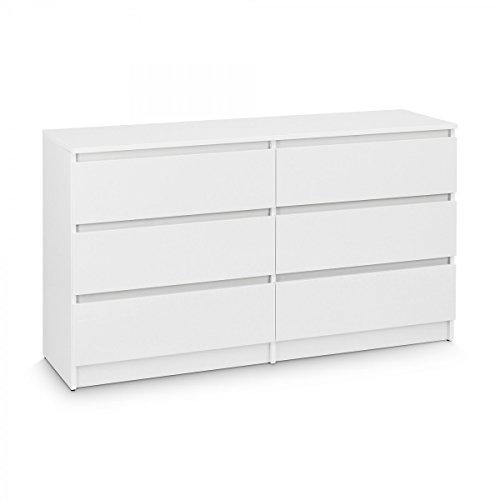 Galdem Kommode mit 6 Schubladen 140cm Sideboard Mehrzweckschrank Anrichte Diele Flur Esszimmer Wohnzimmer Weiß