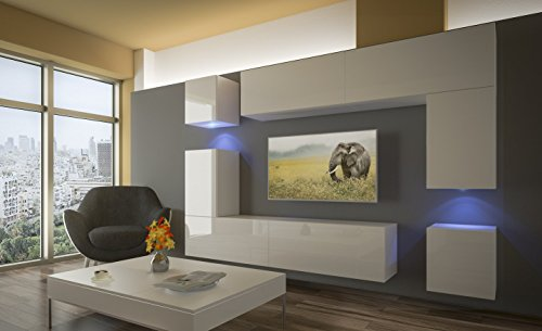 Home Direct PRAG N5, Modernes Wohnzimmer, Wohnwände, Wohnschränke, Schrankwand (Weiß Matt Base/Weiß HG Front (HG26), LED RGB 16 Farben)