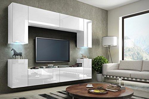 HomeDirectLTD Future 1 Moderne Wohnwand, TV-Schrank, Schrankwand, TV-Element Anbauwand, Garnitur, Große Farbauswahl (RGB LED-Beleuchtung Verfügbar) (Weiß MAT Base/Weiß HG Front, RGB LED)