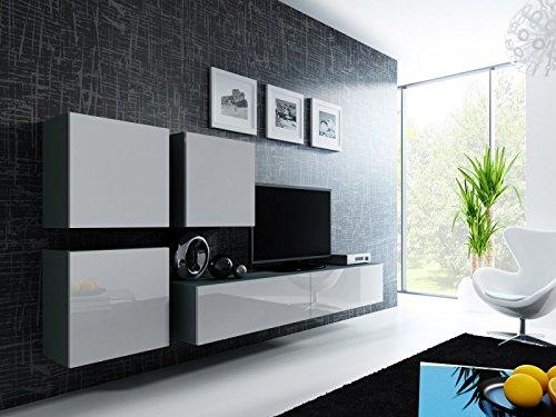 Jadella Wohnwand ' Vigo 23' Hochglanz Hängeschrank Lowboard Cube, Farbe:Grau Weiß