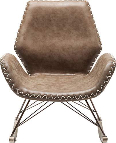 Kare Design Schaukelstuhl Florida, bequemer, moderner Lounge-Schaukelsessel auf Kufen-Gestell, Braun (H/B/T) 45x43x50cm