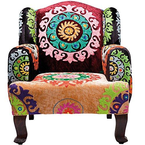 Kare Design Sessel Mandala, Lounge Sessel, Relax Sessel mit floralem Muster, Fernsehsessel, Bunt (H/B/T) 105x85x90cm