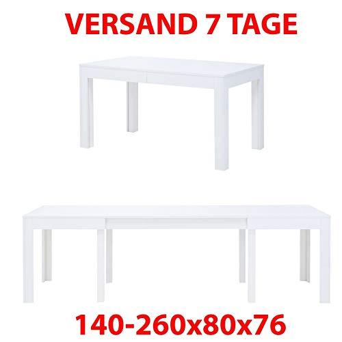 MPS Tisch Küchentisch Esszimmertisch Esstisch ausziehbar 140-260x80x76cm (L x B x H) Weiß Hochglanz