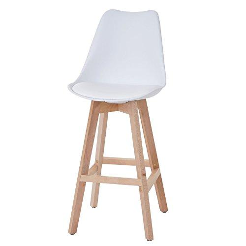Mendler 2X Barhocker Malmö T501, Retro Design ~ weiß, Sitzfläche Kunstleder weiß, helle Beine