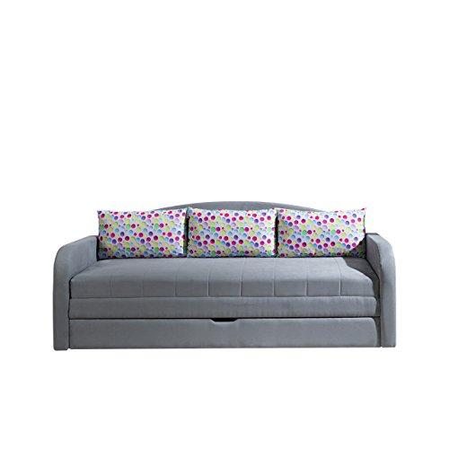 Mirjan24  Schlafsofa Tenus II, Sofa Couch mit Bettkasten und Schlaffunktion, Kissenmuster, Bettsofa Schlafcouch, Gästebett Schlafzimmer (Alcala 22 + Punto 01)