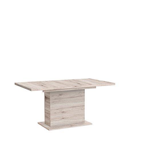 NEWFACE  Esstisch mit Synchronauszug und einer innenliegenden Einlage, Holz, Sandeiche Dekor, 160 x 90 x 76.59 cm