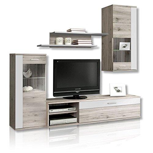 NEWFACE Moderne Wohnwand mit Beleuchtung, Holz, Sandeiche Dekor Kombiniert Mit Weiß, 213 x 41.3 x 184 cm