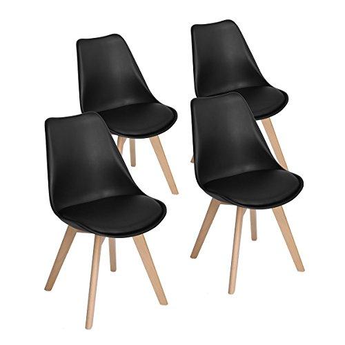 P & N Homewares Lorenzo Tulip Stuhl Kunststoff Retro 4er Set Esszimmerstühle mit Massivholz Buche Bein, Retro Design Gepolsterter lStuhl Küchenstuhl Holz, Schwarz