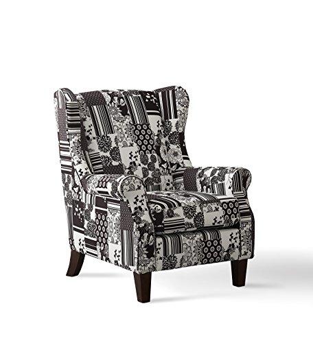 SalesFever® Sessel & Hocker in schwarz-weiß, 100% Polyester, Patchwork, strapazierfähig, bequemer Komfort