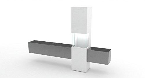 TECNOS Wohnwand | Mediawand | Wohnzimmer-Schrank | Fernseh-Schrank | TV Lowboard | weiß Hochglanz/Schieferoptik | modern | hängend | Glas-Vitrine Incontro