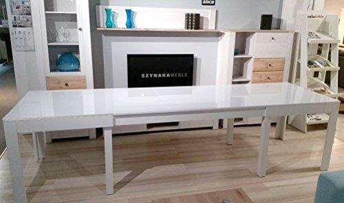 Tisch Küchentisch Esszimmertisch Esstisch WENUS ausziehbar 300 cm !!! (Weiss Hochglanz)