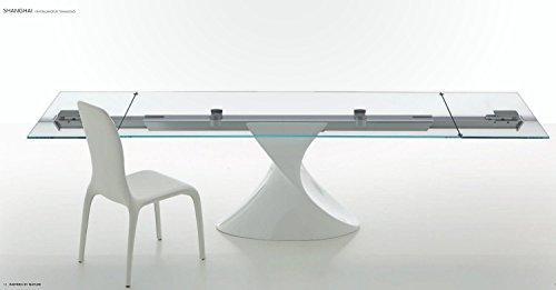 Tonin Casa 8062-P Shanghai Esstisch | Standfuß: 564 - Anthrazit glänzend/Glasplatte: V101 - Extra Weiss/Schiene: 71 - Aluminium poliert