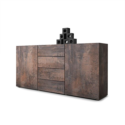Vladon Sideboard Kommode Massa in Stahlfarbe Antik