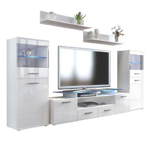 Vladon Wohnzimmer Wohnwand Anbauwand Schrankwand Almada V2, Korpus in Weiß matt/Front in Weiß Hochglanz