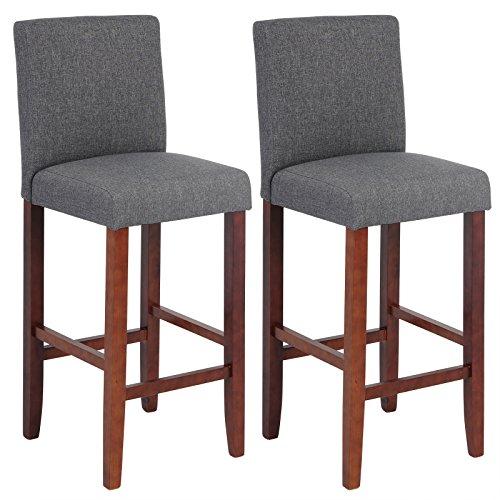 WOLTU BH66dgr-2 Barhocker Bistrostuhl Holz Leinen Bistrohocker mit Lehne, 2er Set,braune Beine aus Massivholz, Antirutschgummi, dick gepolsterte Sitzfläche aus Leinen, Dunkelgrau
