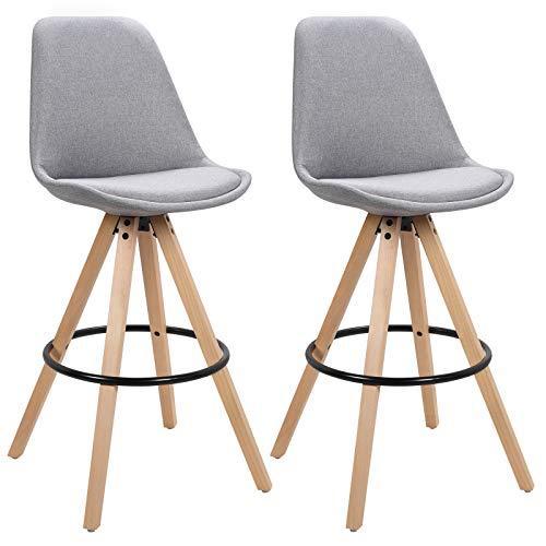 WOLTU BH90hgr-2 2 x Barhocker 2er Set Barstuhl aus Leinen Holzgestell mit Lehne + Fußstütze Design Stuhl Küchenstuhl Optimal Komfort Hellgrau