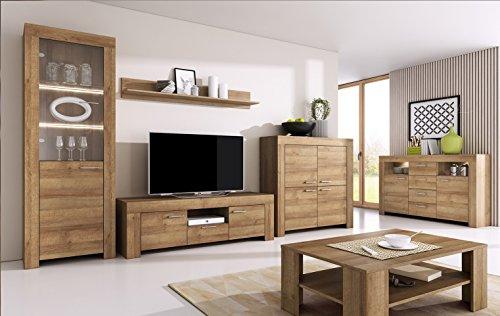 Wohnzimmer Set Wohnwand Anbauwand SKY - Tv Schrank Vitrine Hängeregal Kommode Couchtisch (Riviera Eiche)