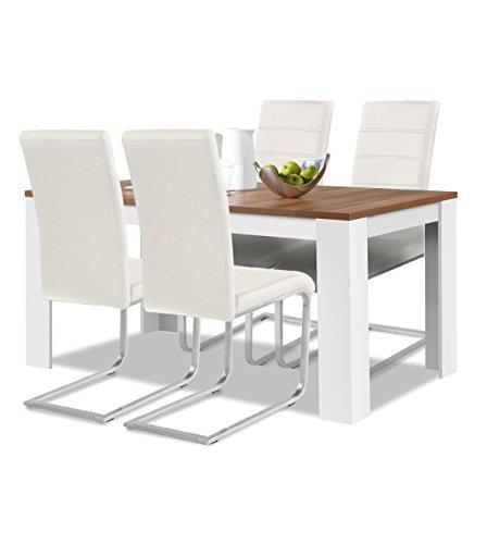 agionda® Esstisch + Stuhlset : 1 x Esstisch Toledo Nussbaum/Weiss 140 x 90 cm + 4 Freischwinger Weiss