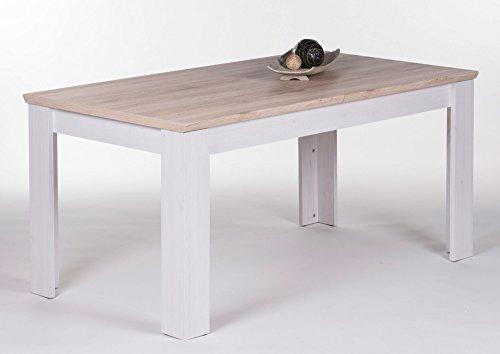lifestyle4living Esstisch, Küchentisch, Esszimmertisch, Tisch, rechteckig, ausziehbar, erweiterbar, San Remo Eiche-Nb, Sibiu Lärche-Nb.