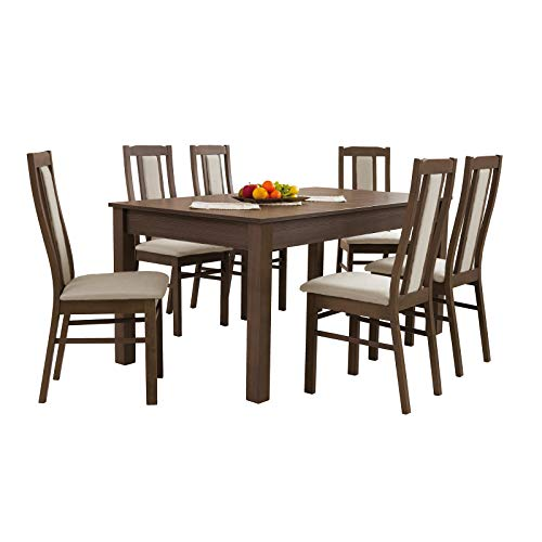 mb-moebel Esstisch mit 6 Stühlen: 130 x 80 cm, 160 x 90cm, 200 x90 cm ausziehbare Tischplatte, Esszimmertisch, Tischgruppe, Essgruppe -Napa (160 x 90 cm)