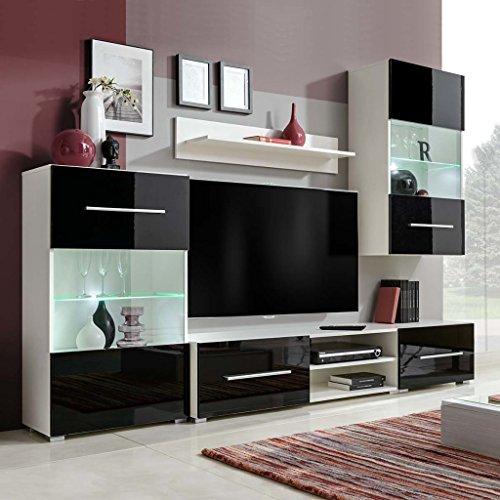 vidaXL Fünfteilige Wohnwand TV-Schrank mit LED-Beleuchtung Schwarz