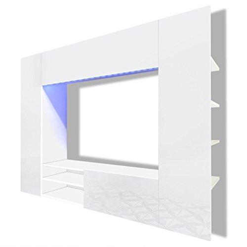 vidaXL Hochglanz Wohnwand Mediawand Anbauwand Schrankwand LED TV-Wand 169,2 cm